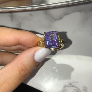 Jewelmint purple emerald cut ring